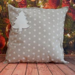 Handgemaakte kussen kerst wit ster 50x50 cm
