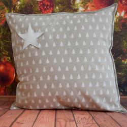 Handgemaakte kussen kerst wit kerstboom 50x50 cm