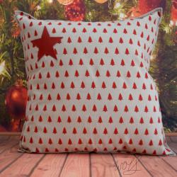 Handgemaakte kussen kerst rood kerstboom 50x50 cm