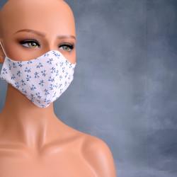 Medisch gezichtsmasker blauw wit blaadje