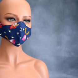 Medisch gezichtsmasker donker blauw hoeden en bellen