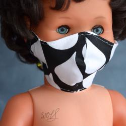 Medisch gezichtsmasker voor kinderen zwart met witte druppels