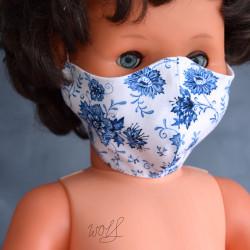 Medisch gezichtsmasker voor kinderen wit met grote blauwe bloemen