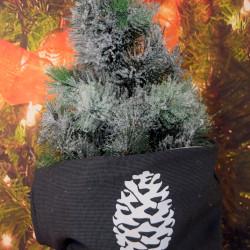 Kerstzak antraciet met witte dennenappel