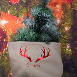"""Kerstzak camel bruin met rode opdruk """"oh deer"""""""