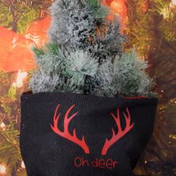 """Kerstzak zwart met rode opdruk """"oh deer"""""""