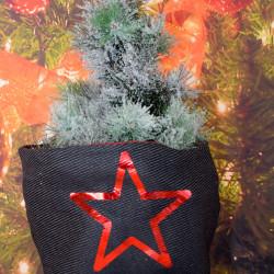 Kerstzak zwart met rode opdruk dennenappels