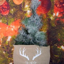 """Kerstzak creme met witte opdruk """"oh deer"""""""