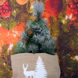 Kerstzak creme met witte opdruk rendier en kerstboom