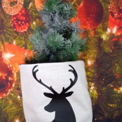 Kerstzak off white met zwarte opdruk rendier kop
