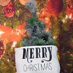 "Kerstzak off white met zwarte opdruk ""merry christmas"""