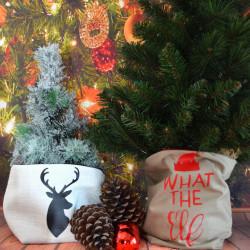 Kerstzak off white met zwarte opdruk rendier kop klein