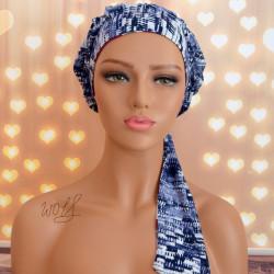 Handgemaakte chemo muts Bowen donker blauw met turquoise en bordeaux maat M