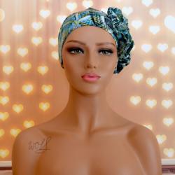 Handgemaakte chemo muts Beyonce groen en blauw maat M