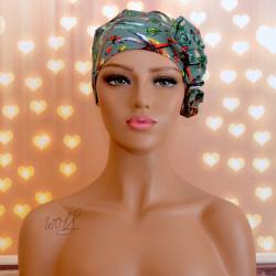 Handgemaakte chemo muts Beyonce groen libelle maat S