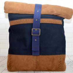 Handgemaakte tas voor mannen of vrouwen canvas met suède