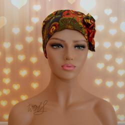 Handgemaakte chemo muts Beyonce in retro kleuren oranje, geel, groen en bruin maat M