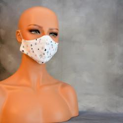 Mondkapje of medisch gezichtsmasker zwart grijs en roze driehoekjes