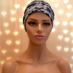 Handgemaakte chemo muts Bente blauw grijs maat L