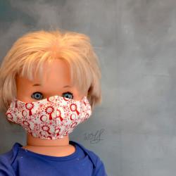 Mondkapje of gezichtsmasker voor kinderen rood wit zonnetje
