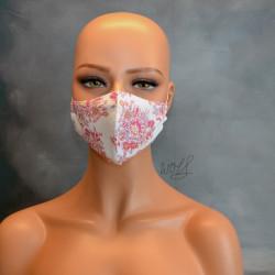 Mondkapje of medisch gezichtsmasker wit met roze bloemen