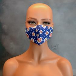 Mondkapje of medisch gezichtsmasker blauw met rozen
