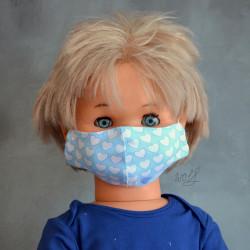 Mondkapje of medisch gezichtsmasker voor kinderen licht blauw met harten