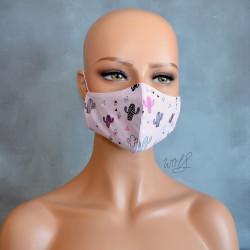 Mondkapje of medisch gezichtsmasker roze met cactussen