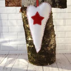 Witte harten hangers Kerst
