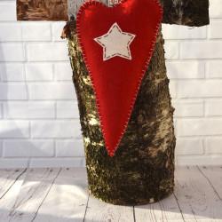 Rode harten hangers Kerst met witte ster