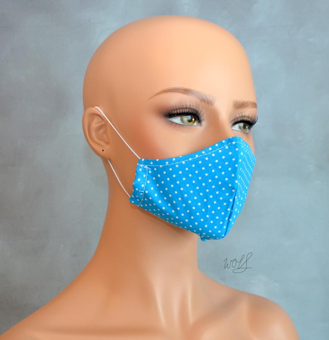 Mondkapje of gezichtsmasker turquoise met kleine witte stip