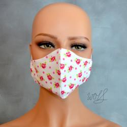 Mondkapje of gezichtsmasker wit met kleine roosjes