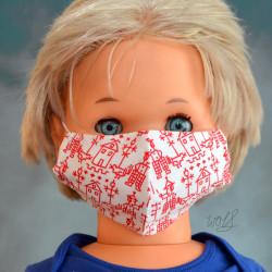 Mondkapje of gezichtsmasker voor kinderen wit rood tekening