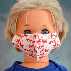 Mondkapje of gezichtsmasker voor kinderen wit met rode paarden
