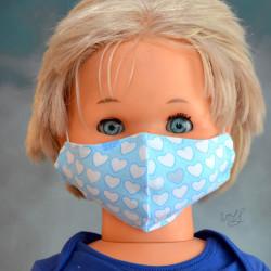 Mondkapje of gezichtsmasker voor kinderen licht blauw met hartjes