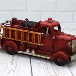 Brandweerauto metaal Handgemaakt klein