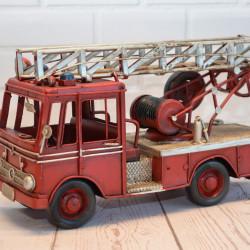Brandweerauto metaal Handgemaakt klein ladderwagen