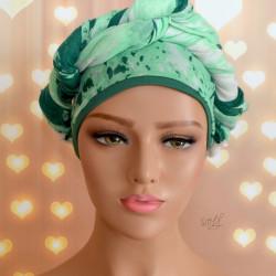 Handgemaakte chemo muts met sjaal Bella groen tinten maat L.