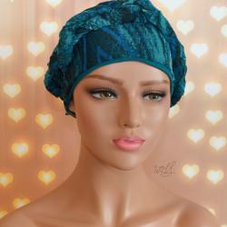 Handgemaakte chemo muts met sjaal Bella turquoise tinten maat M.