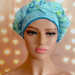 Handgemaakte chemo muts met sjaal Bella turquoise en blauwe tinten maat L.