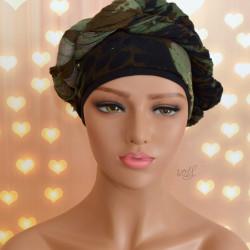 Handgemaakte chemo muts met sjaal Bella camouflage maat S.