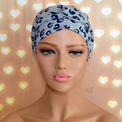 Handgemaakte chemo muts Brina wit blauw/wit zwart maat L