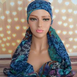 Handgemaakte chemo muts met sjaal Bella zwart creme maat L.