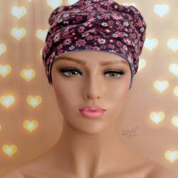 Handgemaakte chemo muts Brina grijs met roze bloem/blauw creme gestreept maat S
