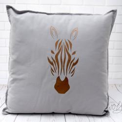 Handgemaakt grijs kussen meteen brons kleurige afbeelding van een zebra