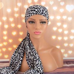 Handgemaakte hoofdwrap Breena zwart/wit one size