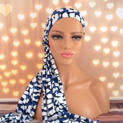 Handgemaakte hoofdwrap Breena blauw one size