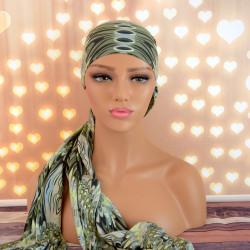 Handgemaakte hoofdwrap Breena groen one size