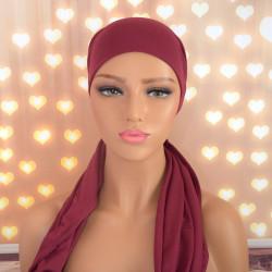 Handgemaakte hoofdwrap Breena bordeaux rood uni one size