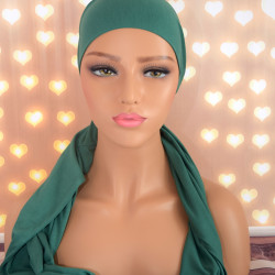 Handgemaakte hoofdwrap Breena groen uni one size